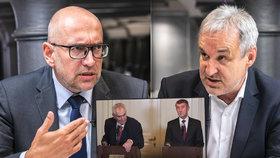 Ostrý duel ve studiu Blesku: Kandidáti do Senátu Bek a Ostrý se přeli mj. o Zemana s Babišem.