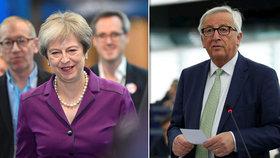 Dohady o brexitu vrcholí, Juncker ani Mayová nechtějí odchod bez dohody.
