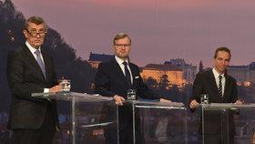 Debata Blesku před volbami 2018: Andrej Babiš, Petr Fiala a Ivan Bartoš