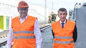 Andrej Babiš vyrazil na dopravní obhlídku s ministrem dopravy Danem Ťokem.