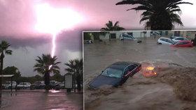 Ničivá bouře se prohnala Mallorcou, s ní spojený přívalový déšť vyvolal bleskové záplavy.