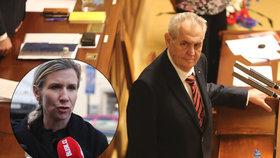 Miloš Zeman se ve Sněmovně pustil do inkluze, rýpl si i do exministryně Valachové