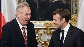 Prezident Miloš Zeman (vlevo) se 26. října 2018 setkal s francouzským prezidentem Emmanuelem Macronem