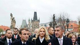 Babiš vzal Macrona také na Karlův most (27.10.2018).