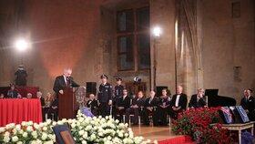 Miloš Zeman na předávání státních vyznamenání (28. 10. 2018)