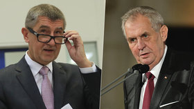 Premiér Andrej Babiš (ANO, vlevo) a prezident Miloš Zeman se v pohledu na kauzu Huawei neshodnou