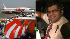 Zřícené letadlo, které se i se 189 lidmi na palubě zřítilo u Jávy, pilotoval zkušený Ind Bhavye Suneja.