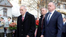 Slovenské oslavy 100 let Československa: Miloš Zeman a Andrej Kiska (30. 10. 2018)