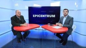 Pořad Epicentrum, předseda Českomoravské myslivecké jednoty Miloš Fischer a moderátor David Vaníček (31. 10. 2018)