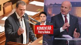 Komunistický poslanec Zdeněk Ondráček a poražený prezidentský kandidát Michal Horáček v komentáři Petra Holce