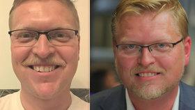 Šéf lidovců Pavel Bělobrádek podpořil Movember a shodil vous.