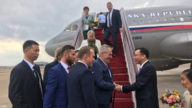 Prezident Zeman s delegací dorazil na návštěvu Číny (4.11.2018).