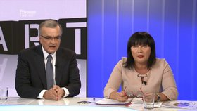 Alena Schillerová a Miroslav Kalousek v pořadu Partie na Primě