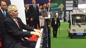 Zeman zahrál na veletrhu na klavír, po areálu se projížděl ve vozíku (5.11.2018)
