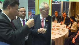Miloš Zeman si v Číně stihl připít u českého stánku se Si Ťin-pchingem i povečeřet s představiteli CITIC.