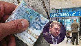 Poslance na letišti v Praze zadržela policie. Dárek matce platil falešnými eury.