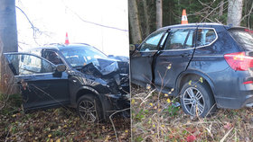 Opilec nezvládl u Vrchlabí zatáčku: Auto sešrotoval o strom a těžce zranil spolujezdkyni