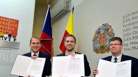 Trio Hřib - Pospíšil - Čižinský podepsalo koaliční smlouvu v Praze