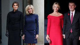 Souboj prvních dam v Paříži. Vyhrála Trumpová, které sekundovala Macronová. Babišová mezi ostatními vynikla v červených šatech.