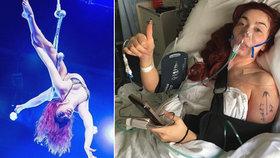 Sexy akrobatka Frankie Fatale utrpěla při pádu zlomeninu klíční kosti.