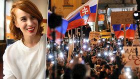 Demonstrací na Slovensku se zúčastnila i herečka Taťána Pauhofová