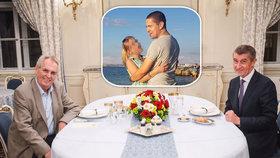 Prezident Miloš Zeman a premiér Andrej Babiš u večeře v Lánech a ve výřezu Babiš junior se svojí známostí z Krymu (19. 11. 2018)