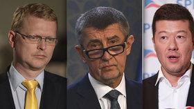 Nejvíce důvěryhodný je Babiš (ANO, uprostřed), nejméně pak Okamura (SPD, vpravo) s Bělobrádkem (KDU-ČSL, vlevo).