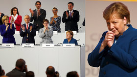 Dojatá Merkelová si vysloužila potlesk ve stoje. Straníci skandovali: Šéfko, děkujeme!