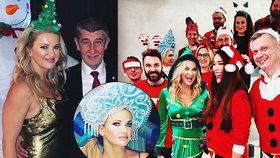 """Babišová v bizarním vánočním oblečku i jako Marfuša. Premiér byl na párty za """"suchara"""""""
