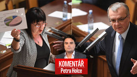 Alena Schillerová (za ANO) a Miroslav Kalousek (TOP 09) při projednávání rozpočtu na příští rok. A pohled Petra Holce