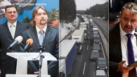 Kolony na D1 a zleva expremiér Petr Nečas, exministr Pavel Dobeš a ministr dopravy Dan Ťok