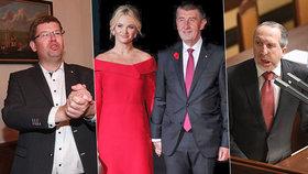 Politici a jejich předsevzetí: Zleva Jiří Pospíšil (TOP 09), Monika Babišová a Andrej Babiš (ANO) a Václav Klaus ml. (TOP 09)