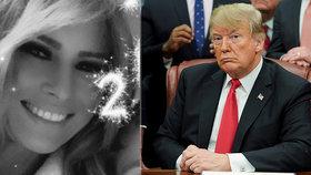 Zatímco Melania slavila na Floridě, Trump v Bílém domě řešil spor o zeď.