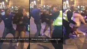 Agresor brutálně napadl ženu před nočním klubem v Londýně.