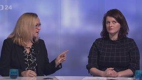 Lenka Kohoutová (ODS) a Jana Maláčová (ČSSD) na obrazovce ČT
