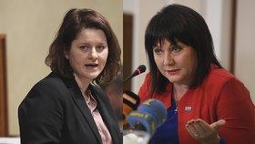 Ministryně Jana Maláčová (ČSSD, vlevo) a Alena Schillerová (za ANO) mají časté spory.