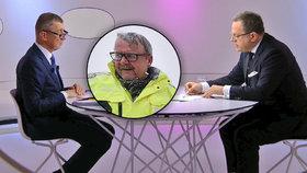 Premiér Andrej Babiš (ANO, vlevo) v Otázkách Václava Moravce odvracel kritiku na hlavu Dana Ťoka (za ANO, ve výřezu).