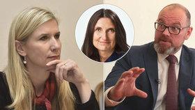 S návrhem na obědy zdarma přišla ČSSD s Kateřinou Valachovou, za ANO přidal protinávrh ministr školství Plaga. A výživová specialistka Margit Slimáková (uprostřed) se jen diví.