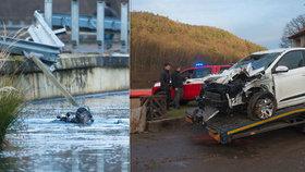 Muž vjel s autem do rybníka Harasov. V nemocnici zemřel