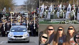 Pohřeb pěti dívek (†15), které přišly o život při únikové hře: Bílé rakve a bílé růže