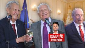 Miloš Zeman, Václav Klaus a jeho syn Václav Klaus ml. v komentáři Petra Holce
