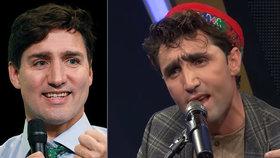 Afghánský zpěvák Abdúl Salam Maftún (vpravo) jako by z oka vypadl kanadskému premiérovi Trudeauovi (vlevo).