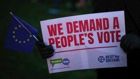 Britové během hlasování o dohodě demonstrovali. Někteří chtějí nové referendum