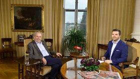 Prezident Miloš Zeman a moderátor David Vaníček v pořadu S prezidentem v Lánech (20. 1. 2019)