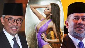 Malajsie má nového krále. Abdullah (vlevo) nahradil Muhammada (vpravo), který abdikoval po svatbě s mladou Ruskou Oksanou