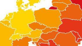 Česká republika je v rámci EU 8 bodů pod průměrem a pohybuje se na 18. místě.