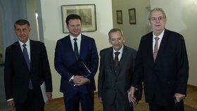 Ústavní činitelé: Zleva Andrej Babiš (ANO), Radek Vondráček (ANO), Jaroslav Kubera (ODS) a Miloš Zeman