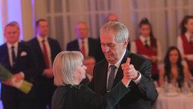 Hradní ples 2019: Miloš Zeman s manželkou Ivanou (1.2.2019)