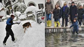 Sníh ochromuje dopravu po celé Evropě, Itálie hlásí záplavy a na horách hrozí laviny