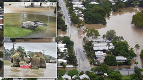 Část australského Queenslandu zasáhla stoletá povodeň. Voda vyplavila krokodýly a hady, (04.02.2019).